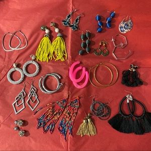 Lot of 19 pairs of earrings dangle and hoops